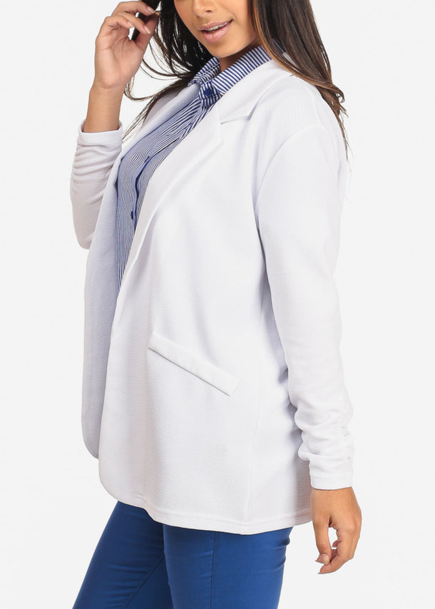 Women's Junior Ladies Dressy Business Office Career Wear Open Front Ruched Sleeves Solid White Blazer