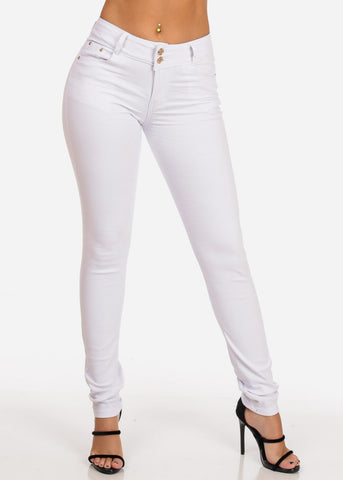 Women's Junior Ladies 2 Button Mid Rise Solid White Super Stretchy White Skinny Jeans