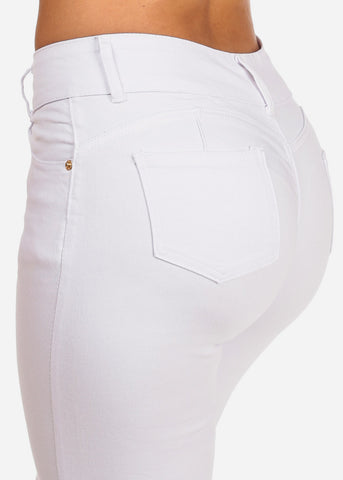 Image of Women's Junior Ladies 2 Button Mid Rise Solid White Super Stretchy White Skinny Jeans