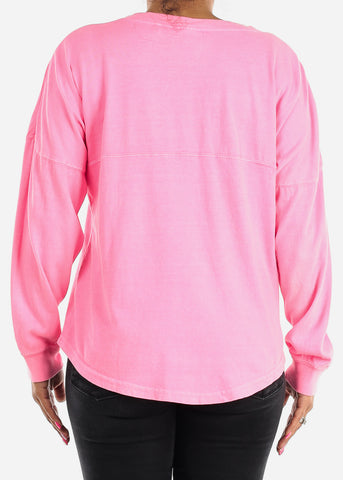 Long Sleeve V Neck Neon Pink Top
