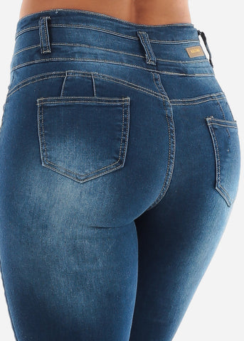 Blue Butt Lifting Torn High Rise Skinny Jeans
