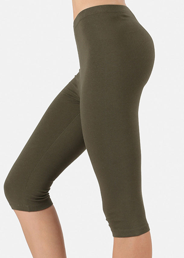 High Waisted Olive Capri Leggings