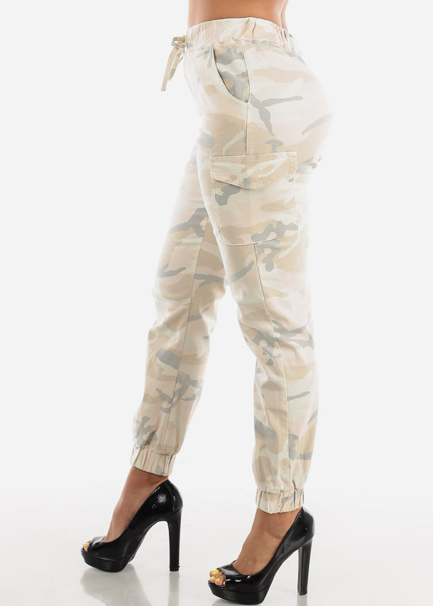 Cream Camouflage Cargo Jogger Pants