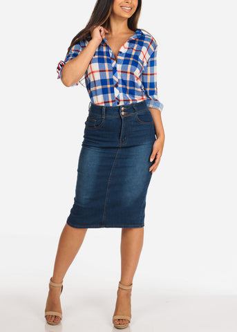 Women's Junior Ladies Must Have Stretchy High Waisted Med Wash 2 Button Denim Midi Pencil Skirt