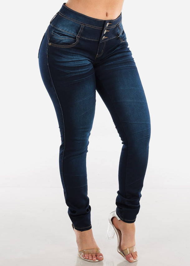 3 Button Mid Rise Dark Wash Butt Lifting Levanta Cola Skinny Jeans