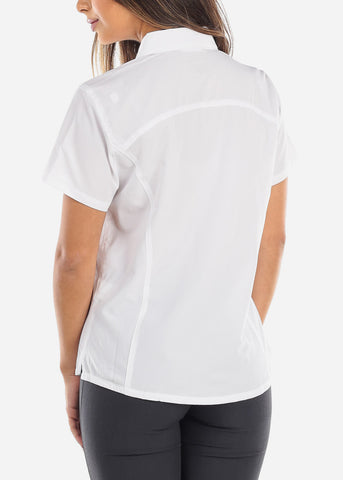 Image of White Short Sleeve Button Down Shirt