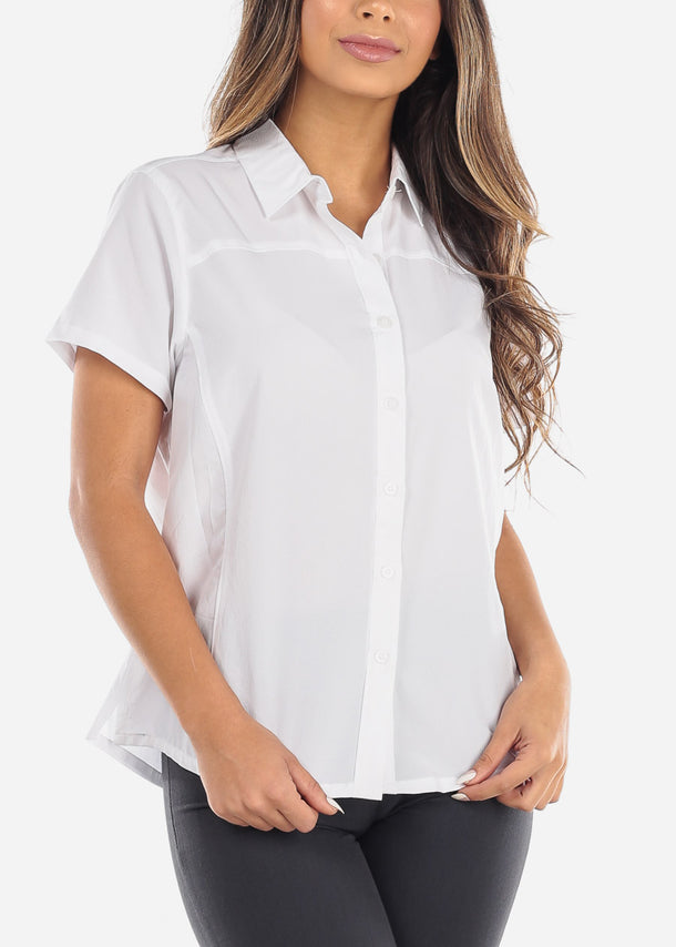 White Short Sleeve Button Down Shirt