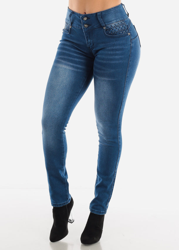 Blue Stone Wash Booty Boost Skinny Jeans