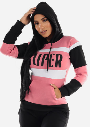 "Image of Pink Colorblock Pullover Hoodie ""Super"""