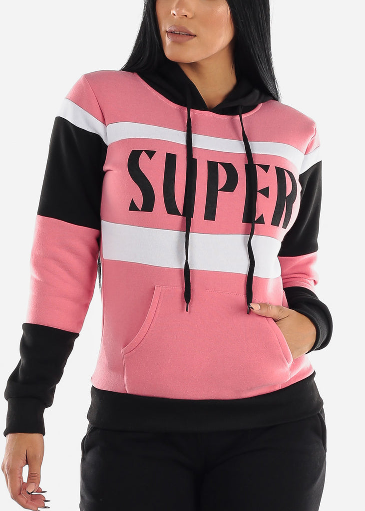 "Pink Colorblock Pullover Hoodie ""Super"""