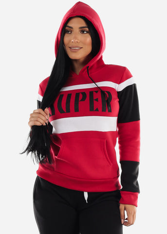 "Red Colorblock Pullover Hoodie ""Super"""