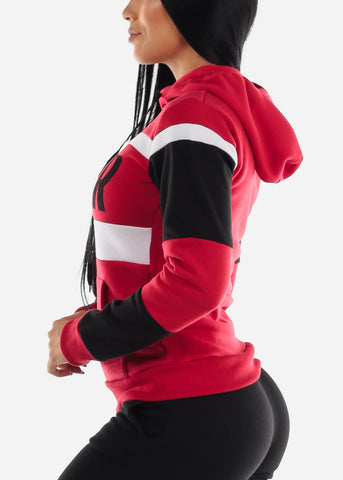 "Image of Red Colorblock Pullover Hoodie ""Super"""