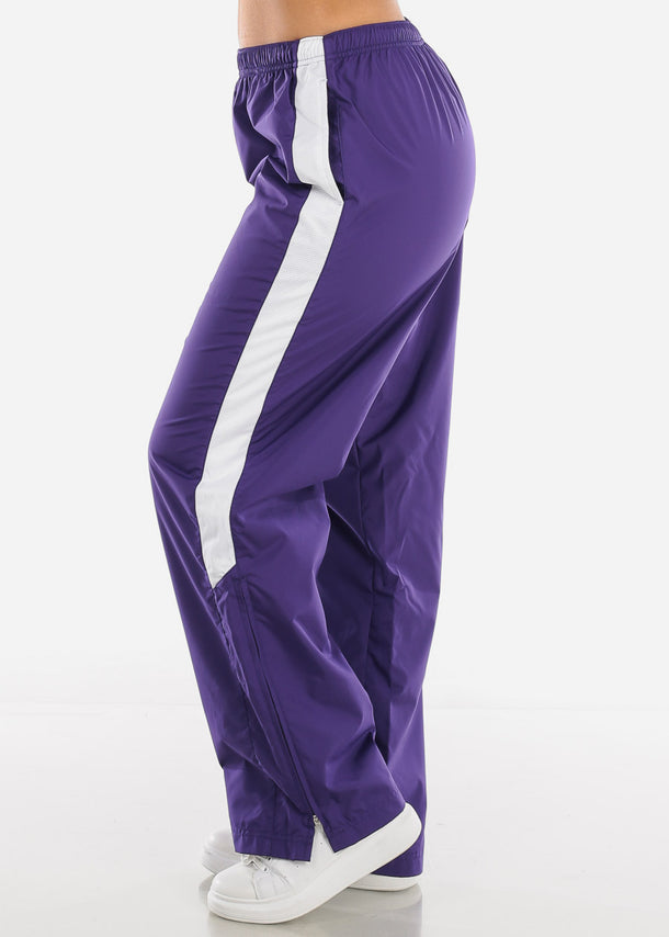 Purple Drawstring Waist Athletic Pants