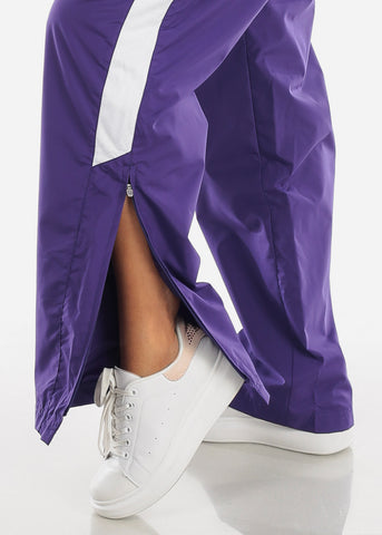 Image of Purple Drawstring Waist Athletic Pants LPO010PURP