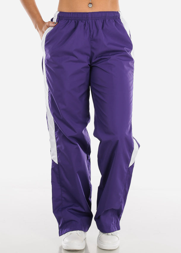 Purple Drawstring Waist Athletic Pants LPO010PURP