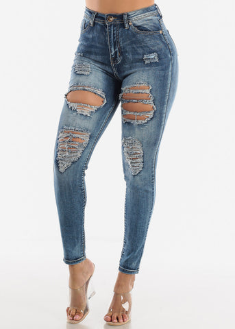 Image of High Rise Distressed Faded Blue Skinny Jeans