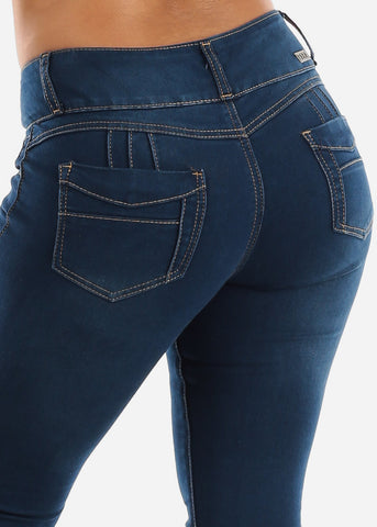 Image of Dark Wash Mid Rise Butt Lifting Skinny Jeans
