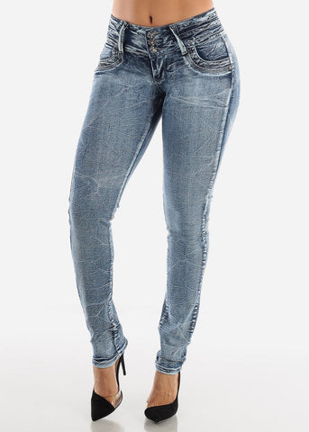 Low Rise Butt Lifting Acid Wash Skinny Jeans