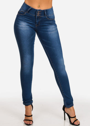 3 Button Butt Lifting Levanta Cola Mid Rise Med Wash Skinny Jeans