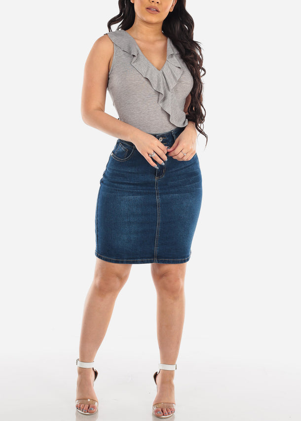 Butt Lifting Dark Wash Denim Skirt