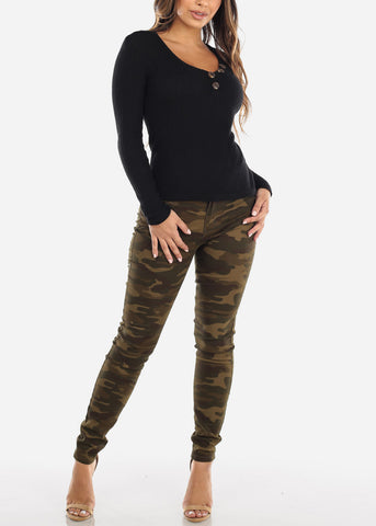 High Rise Camo Skinny Jeans