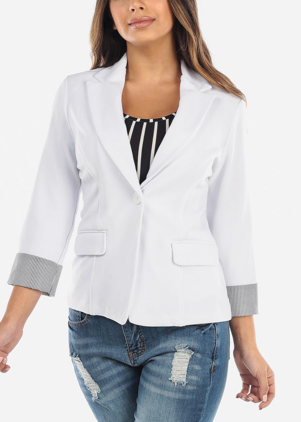 Striped Cuff White Blazer