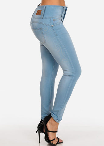 Image of Levanta Cola Light Wash 4 Button Mid Rise Butt Lifting Skinny Jeans