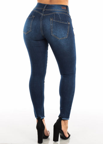 Image of Blue Butt Lifting Skinny Ankle Jeans