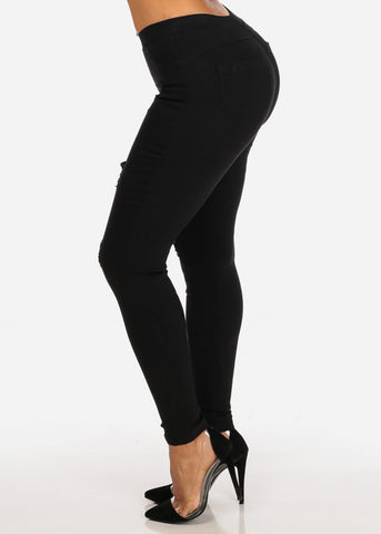 Image of Stylish Stretchy Going Out Casual Distressed Solid Black Skinny Pants