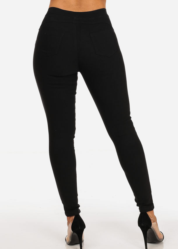 Stylish Stretchy Going Out Casual Distressed Solid Black Skinny Pants