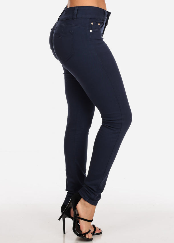 Butt Lifting Mid Rise Navy Skinny Jeans