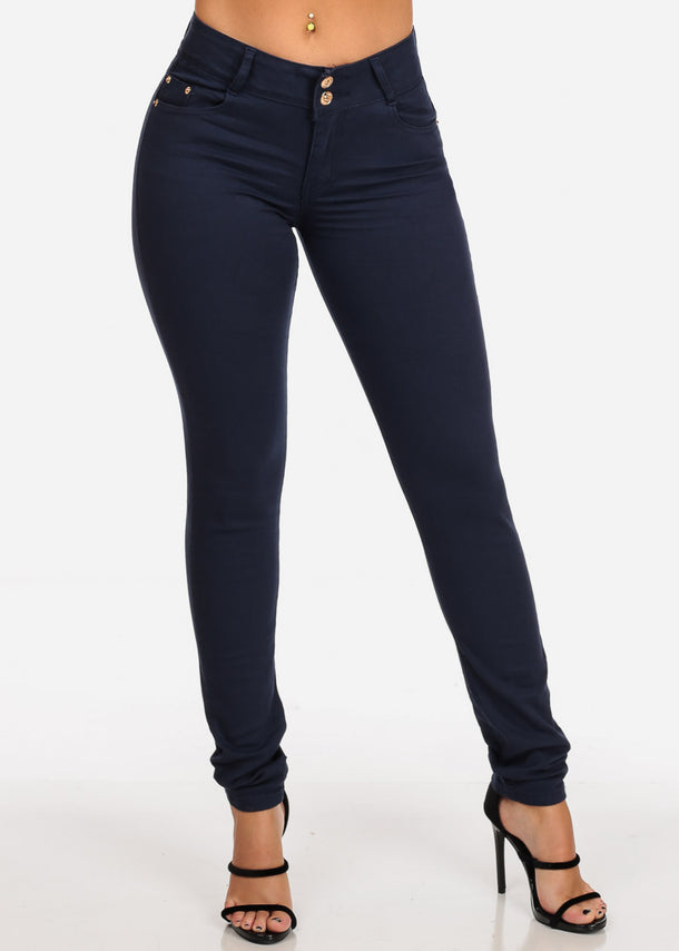 Women's Junior Ladies 2 Button Mid Rise Solid Navy Super Stretchy Navy Skinny Jeans