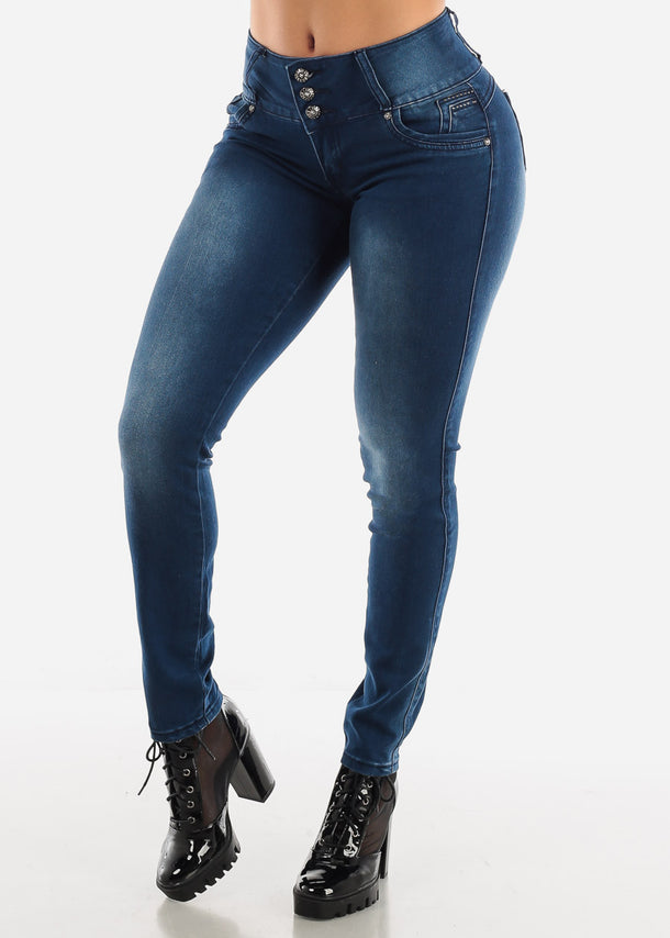 Dark Wash Button Zip Up Skinny Jeans