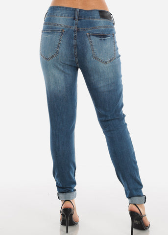 Image of High Rise Distressed Straight Leg Jeans