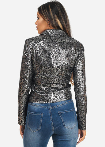 Image of Printed One Button Long Sleeve Blazer