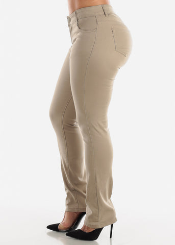 Image of Straight Leg Khaki Jeans
