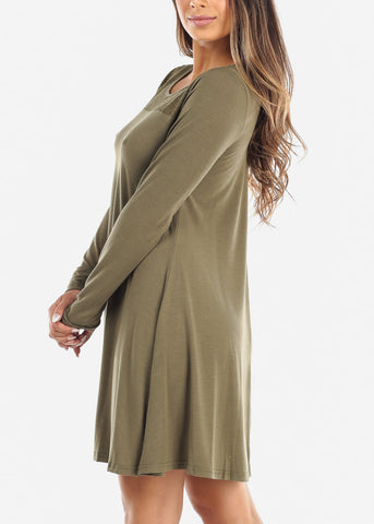 Lace Design Olive Swing Dress