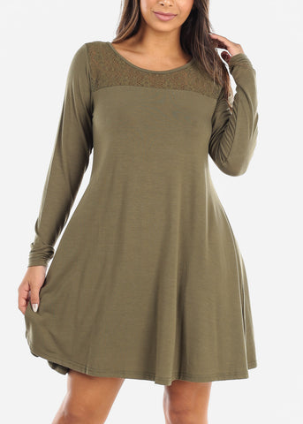 Image of Lace Design Olive Swing Dress