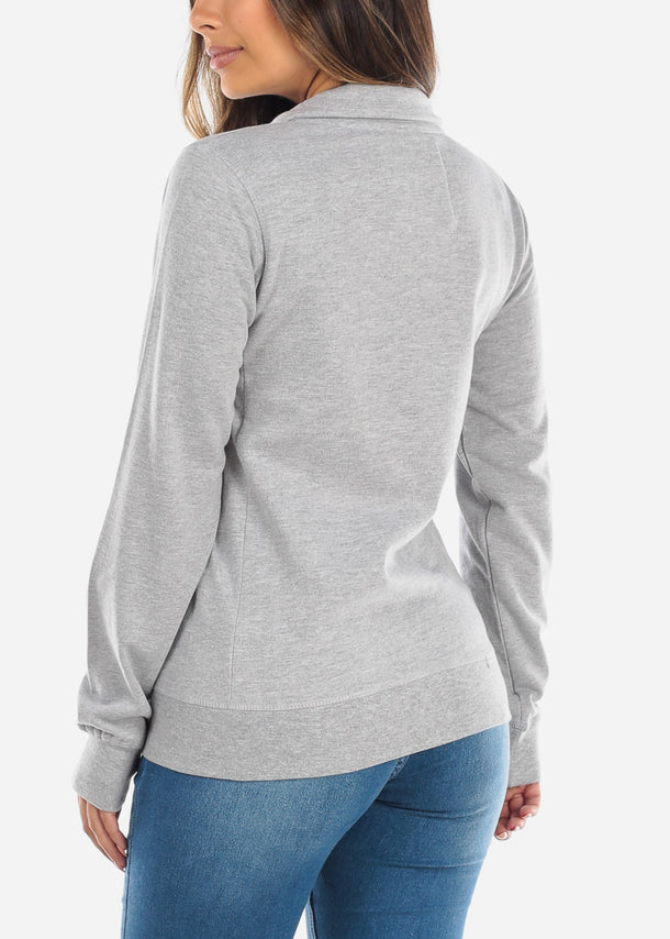 Mock Neck Grey  Sweatshirt