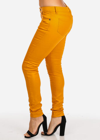 Image of One Button Skinny Mustard Jeans