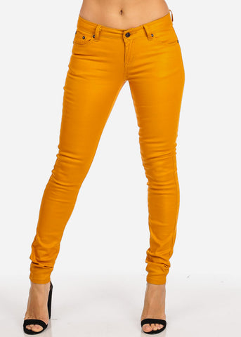 One Button Skinny Mustard Jeans