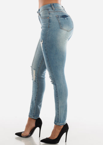 Medium Wash Distressed Vertical Seam Jeans
