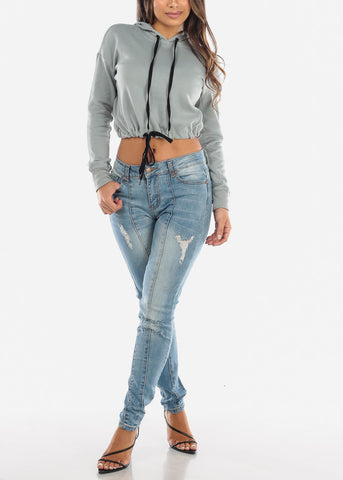 Image of Medium Wash Distressed Vertical Seam Jeans MD011DKBLU