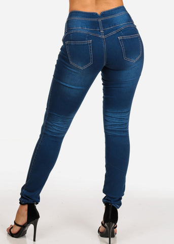 3 Button Med Wash Butt Lifting Levanta Cola Mid Rise Denim Skinny Jeans