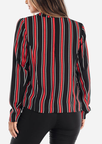 Image of Open Front Classic Red Stripe Blazer