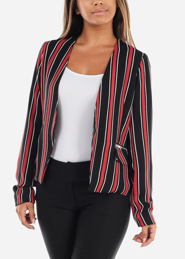 Open Front Classic Red Stripe Blazer