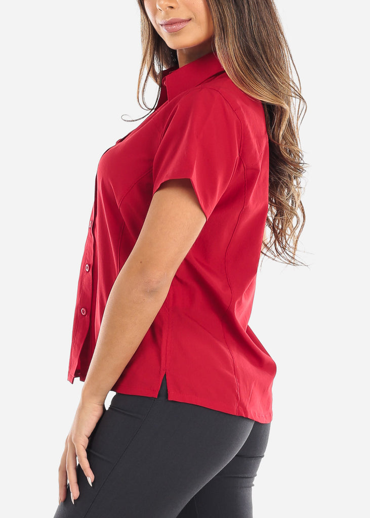 Red Short Sleeve Button Down Shirt