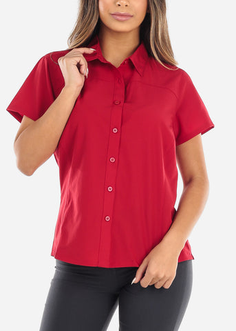 Image of Red Short Sleeve Button Down Shirt