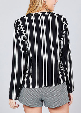 Black Stripe Open Front Office Business Wear Blazer