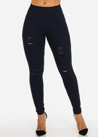 Stylish Stretchy Going Out Casual Distressed Solid Navy Skinny Pants